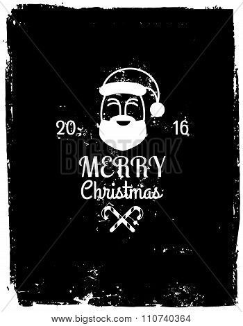 Grunge Christmas Background with Santa Claus