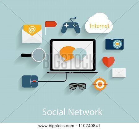 Social Network Concept Flat Vector Illustration