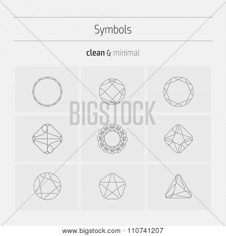 Set of minimal geometric monochrome shapes. Trendy hipster icons and logotypes. Religion, philosophy, spirituality, occultism symbols collection. Business signs, labels, badges, frames and borders