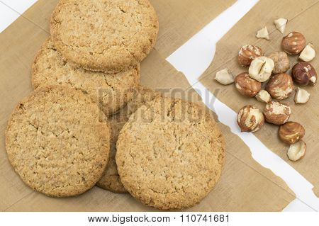 Integral Biscuits And Natural Fresh Hazelnuts
