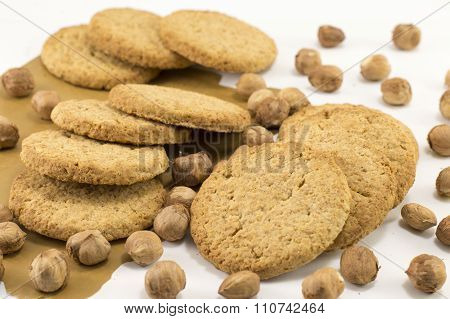Integral Cookies And Natural Fresh Hazelnuts