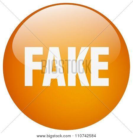 Fake Orange Round Gel Isolated Push Button