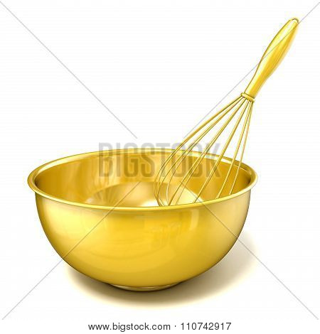 Golden bowl with a wire whisk. 3D render