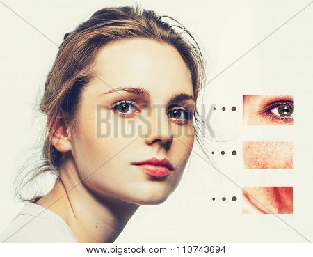 Portrait Of Girl Woman With Problem And Clear Skin, Aging And Youth Concept