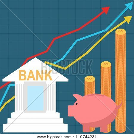 Bank savings account concept