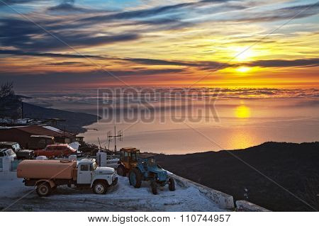 Beautiful sunrise in the Ay-Petry. Crimea Mountains. Ukraine.