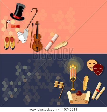 Theatre Flat Banner Theater Entertainment And Performance Elements Musical Operetta Literature Drama