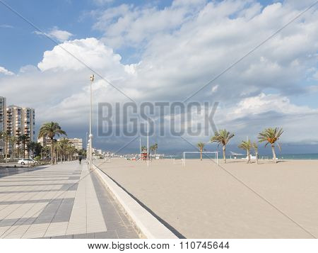 The Large Sandy Beach Of Alicante