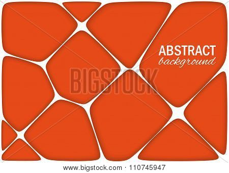 Volumetric Geometrical Bright Orange Background With Outline Extrude Effect.  Abstract 3D Vector Bac