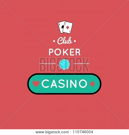 Casino, Poker  chip vector design with card