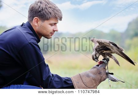 man falcon feeds