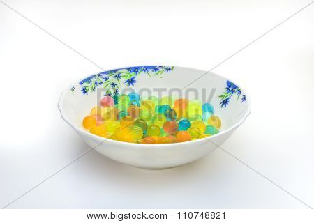 Plate With Colored Gel Balls