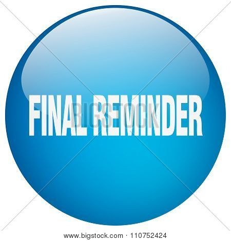Final Reminder Blue Round Gel Isolated Push Button