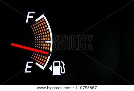 Fuel gauge on the black background