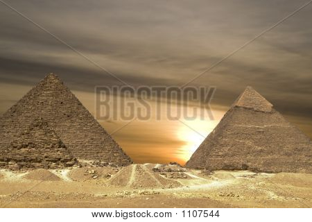 Pyramids Sunset Drama