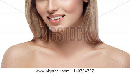 Beautiful Woman Face Portrait Close Up Studio On White