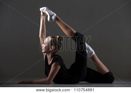 Girl Doing Backbend Acrobatic Exercise