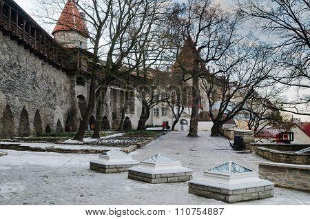 People walk in Danish King's Garden  in Tallinn