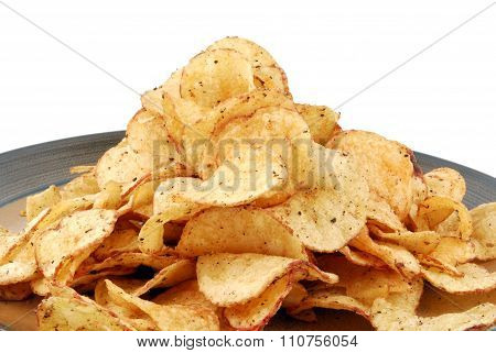 chips crisps on plate
