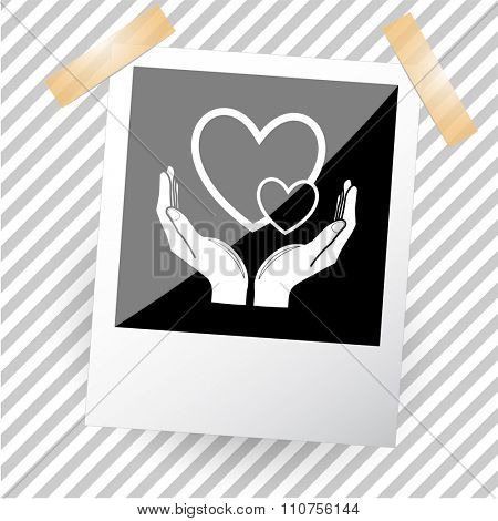 love in hands. Photoframe. Raster icon.