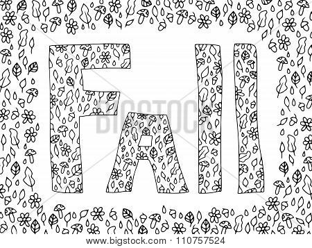 Fall Autumn Doodle Zentangle Black