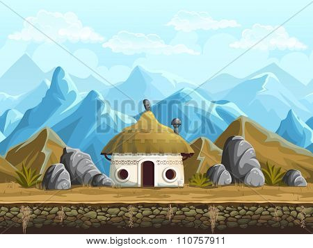 Seamless Background Of The Hut In Mountains