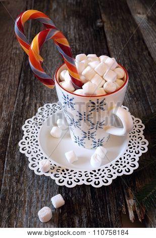 New Year's Mug With Hot Chocolate And Candy
