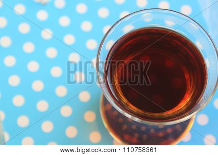 a glass of Turkish black tea