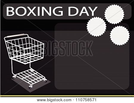 Shopping Cart On A Boxing Day Background