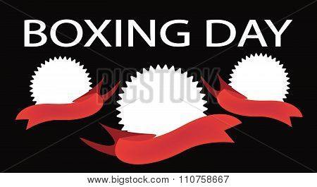 Three Round Banners On Boxing Day Background