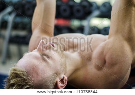Muscular young man shirtless, training pecs on gym bench