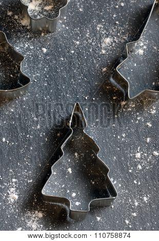 Christmas bake tools on slate table