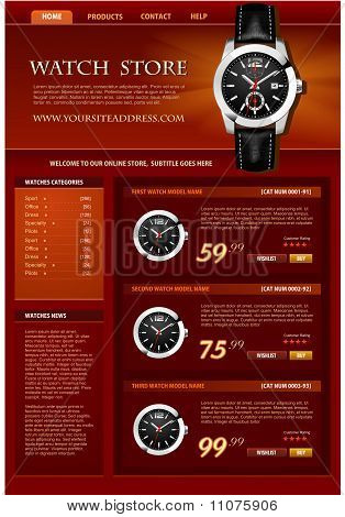 Watch Web Store Vector Template