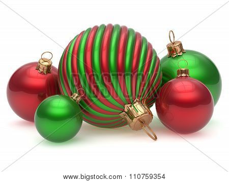 Christmas Balls New Year's Eve Adornment Decoration Green Red