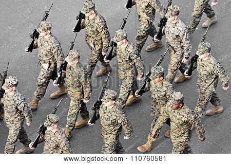 Us Marines March During Military Parade
