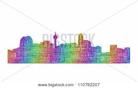 Calgary skyline silhouette - multicolor line art