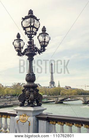 Paris View. Bridge Of Alexandre Iii Against The Eiffel Tower In Paris, France.