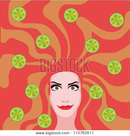 Red Head Woman With Limes In Hair