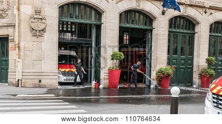 Paris Firemen Clean Their Station
