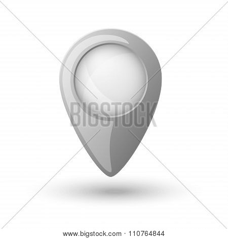 Plastic Map Location Sign, Marker Isolated On White Background