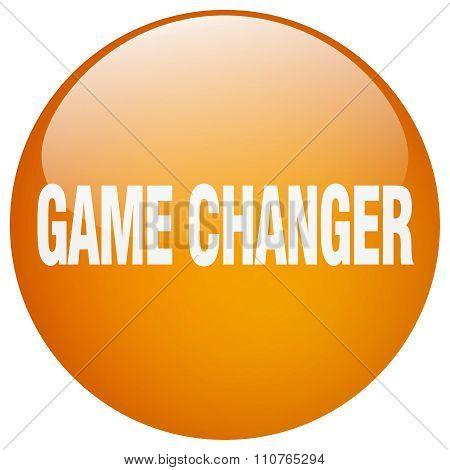 Game Changer Orange Round Gel Isolated Push Button