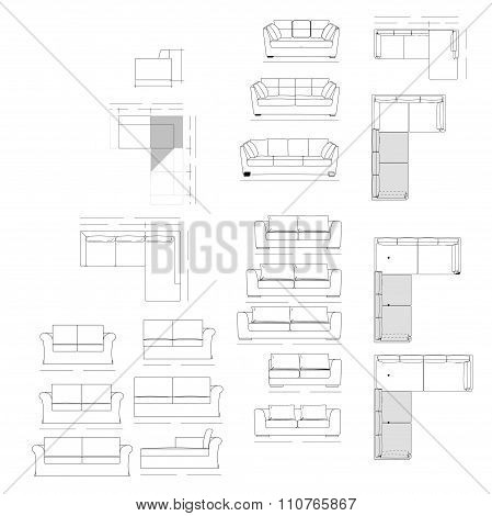 Outline Illustration of the Couch Plan sofa