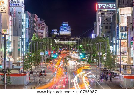HIMEJI, JAPAN - OCTOBER 15, 2015: The cityscape of Himeji with Himeji Castle at its center. The Castle is a World Heritage Site.