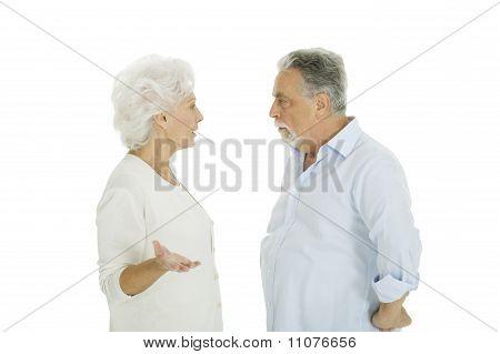 elderly couple disagreement