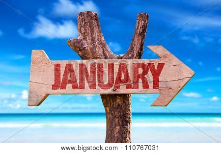January arrow with beach background