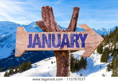 January arrow with winter background