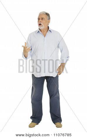 Senior man waving