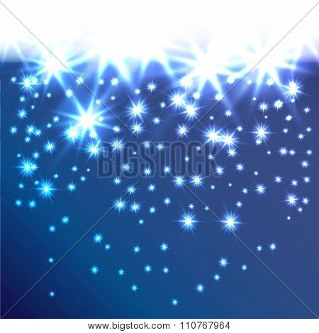 Glow snowflakes or stars fall down. Decorative background for holiday invitations, cards or web bann