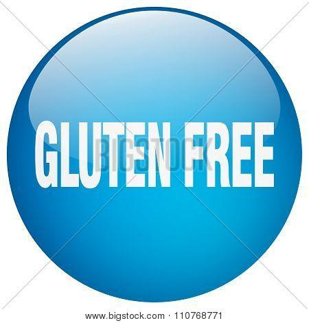 Gluten Free Blue Round Gel Isolated Push Button