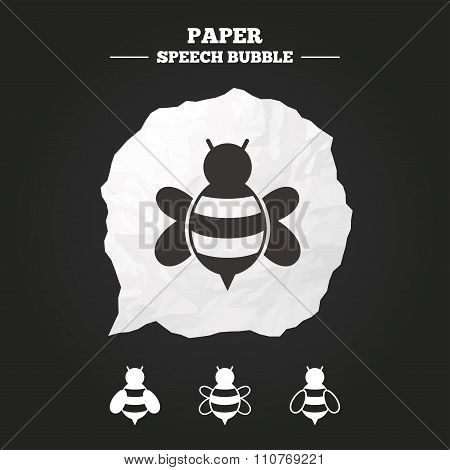 Honey bees icons. Bumblebees symbols.